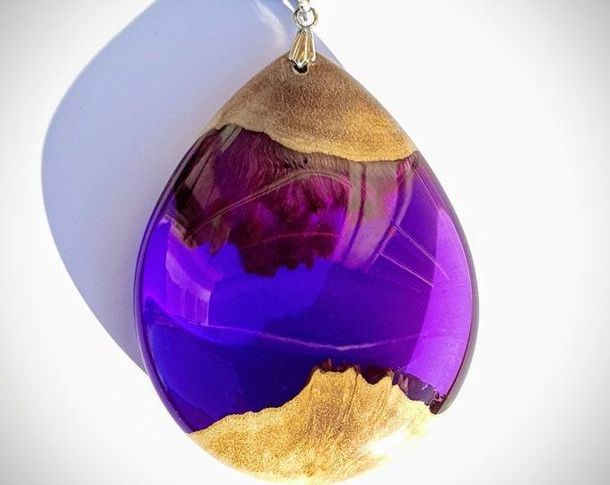 Featured listing image: Wood Resin Pendant - Mallee Burl - Purple