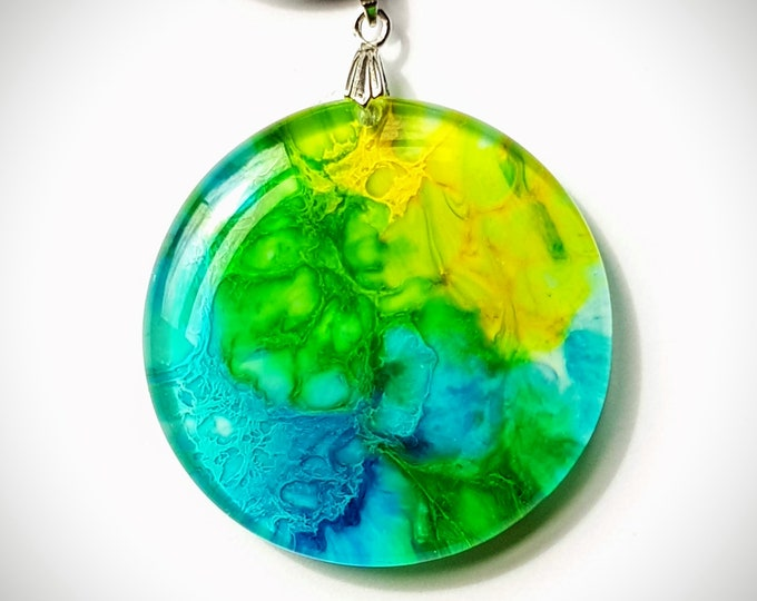 Featured listing image: Resin Pendant - Round Pendant - Abstract waves - Multicolor