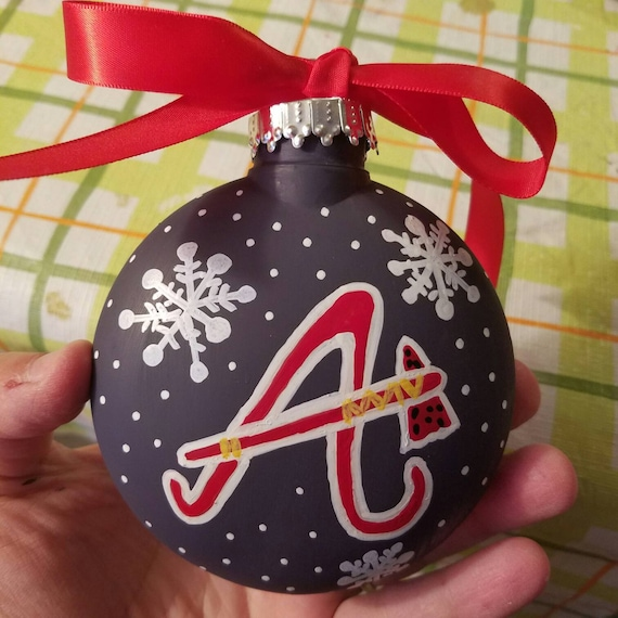 50 - Atlanta Braves Christmas Ornament Hand Painted Personalized Etsy