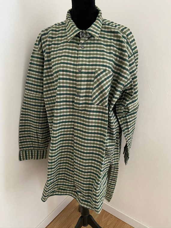 Vintage Mens French Green Checked  Brushed Cotton