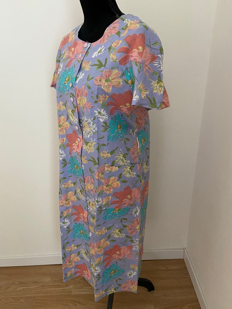 Ladies French /'JEAN MOREUX/' Floral French Cotton Summer Apron Dress with Belt ML
