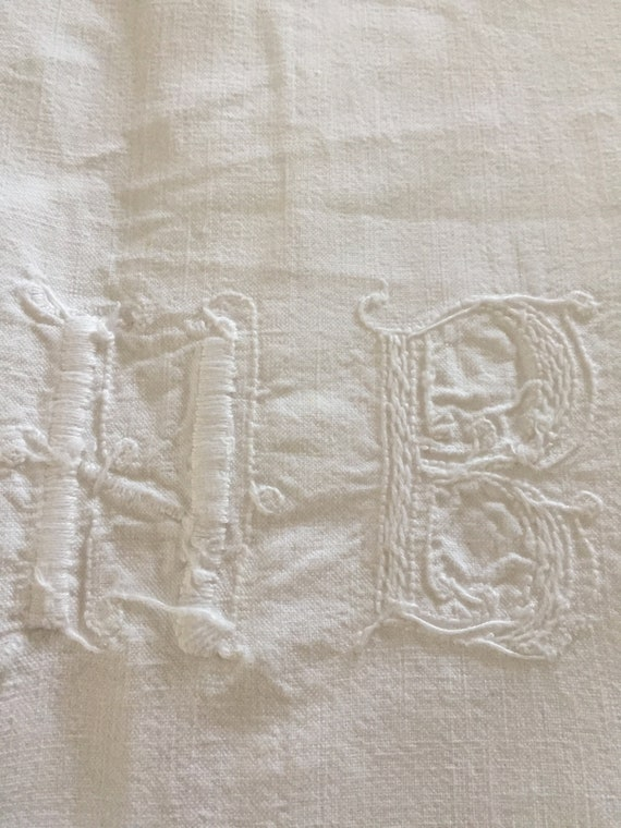Antique French linen sheet with monogram HB