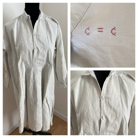 Antique French Linen Hemp Peasant Shirt / Smock 'M