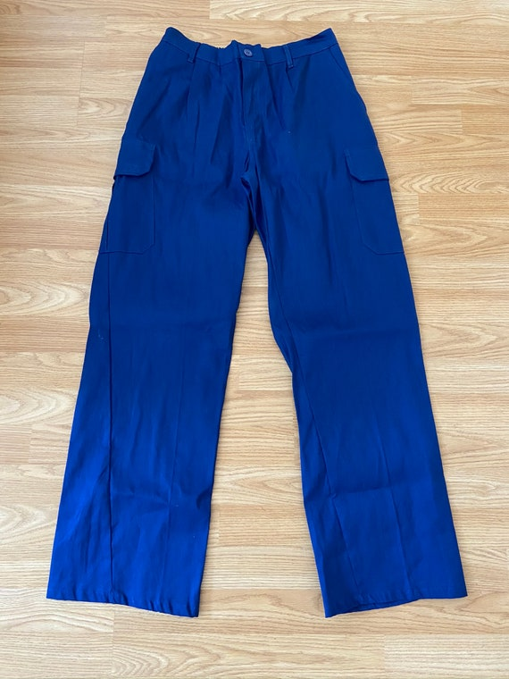 French Vintage Blue Cargo Chore Pants / Cotton Wor