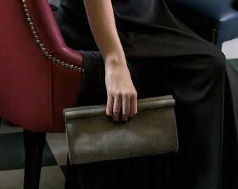 Gray Leather Clutch, Gray Leather, Gray Clutch, Leather Clutch, Leather Clutch Bag, Genuine Leather Purse,  Leather Purse, Wristlet Clutch
