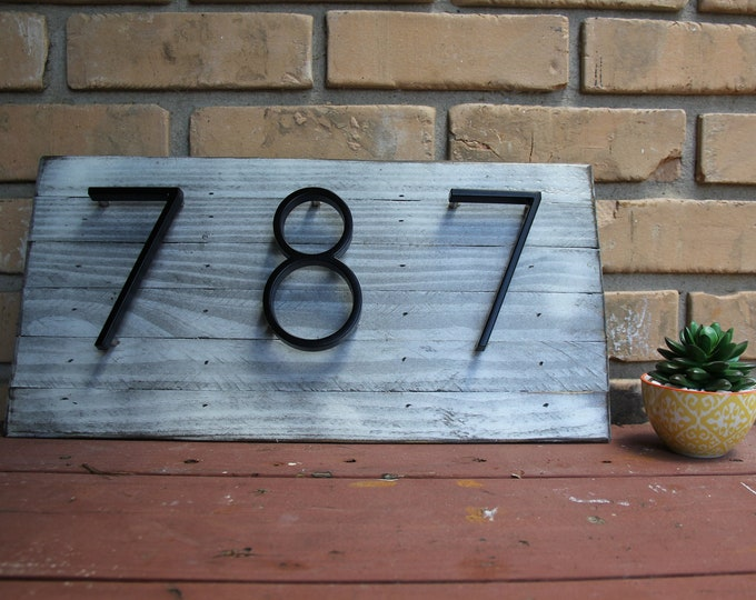 Modern Rustic Home Address Sign   Farmhouse   White   House Address   Home Decor   House Numbers Plaque   Rustic Decor   Home Address  