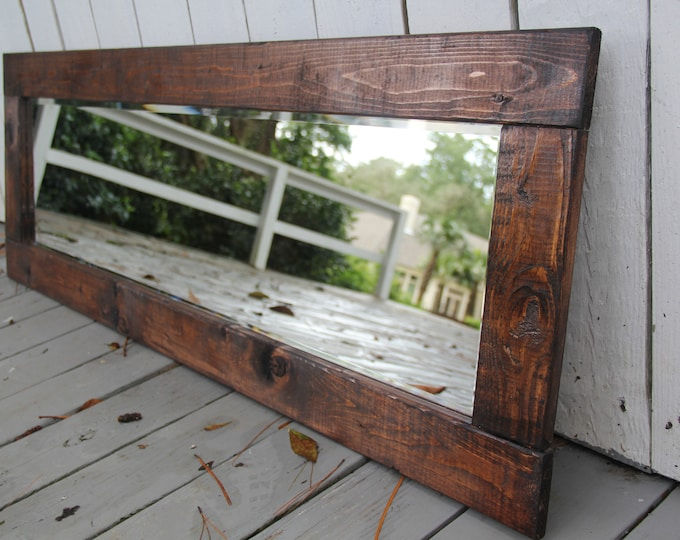 Farmhouse Mirror   Wall Mirror   Vintage   Modern Rustic Decor   Wall Hanging   Bathroom Mirror   Reclaimed Vanity Mirror   Heart of Pine