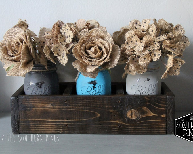 Mason Jar Table Centerpiece   Planter Box   Rustic Wedding   Wooden Box   Wedding Centerpiece   Mantle Decor   Farmhouse   Reclaimed
