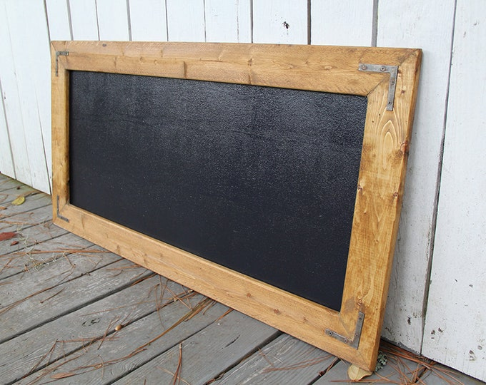 Large Rustic Farmhouse Magnetic Chalkboard | Distressed | Vintage | Rustic | Shabby Chic | Wedding | Reclaimed | Golden Oak
