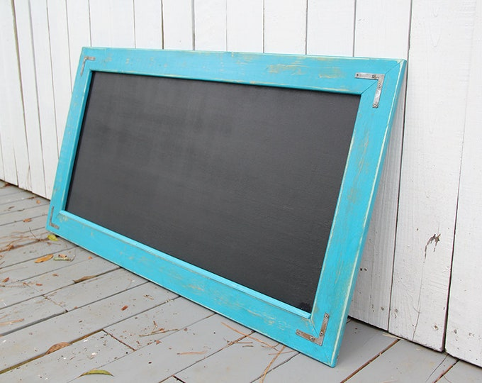 Large Rustic Farmhouse Magnetic Chalkboard | Distressed | Vintage | Rustic | Shabby Chic | Wedding | Reclaimed | Beach Blue