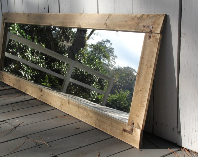 Large Farmhouse Mirror with Brackets   Wall Mirror   Vintage   Modern Rustic Decor   Wall Hanging   Vanity Mirror