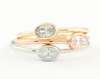 Solitaire CZ Ring, Oval Stone Ring, Solitaire Silver Ring, Gold Solitaire Ring, Cz Stone Ring, Gold Stacking Ring, Rings for Women, SR0413