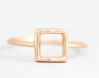 Square Gold Ring, Square Ring, Square Silver Ring, Geometric Ring, Gold Stacking Ring, Dainty Silver Jewelry, Minimalist Ring, SR0012