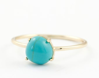 Turquoise Ring, Dainty Gold Ring, Silver Turquoise Ring, Blue Stone Ring, Stone Stacking Ring, Dainty Turquoise Ring, Sterling Silver SR0417