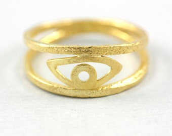 Evil Eye Ring, Eye Ring, Gold Eye Ring, Gold Evil Eye Ring, Double Band Ring, Stacking Gold Ring, Ring for Women, Stackable Ring,  SR0199