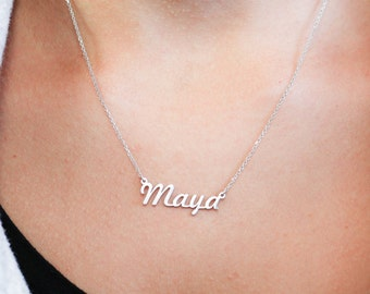 Name Necklace, Custom Name Necklace, Kid's Name Necklace, Personalized Name Necklace, Children Name Necklace, Silver Gift for Mother, SN0224