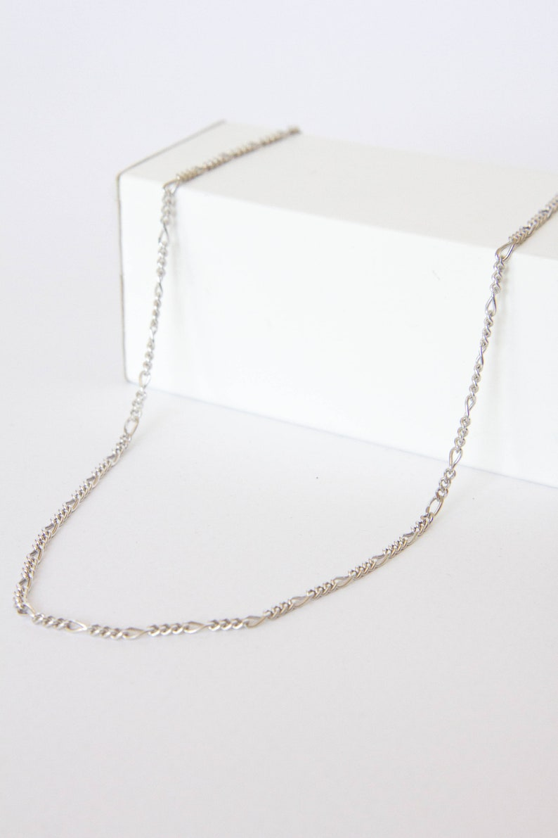 Chain Necklace Figaro SN0795 Dainty Choker Sterling Silver Gift for Girlfriend