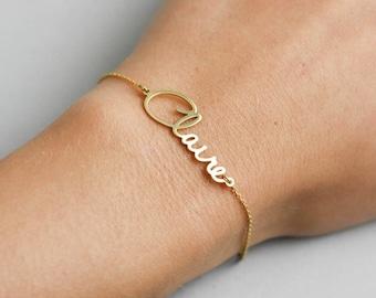 Gold Name Bracelet, Custom Name Bracelet, Bridesmaid Gift, Gold Bridesmaid Bracelet, Personalized Name Bracelet, Graduation Gift, SB0181