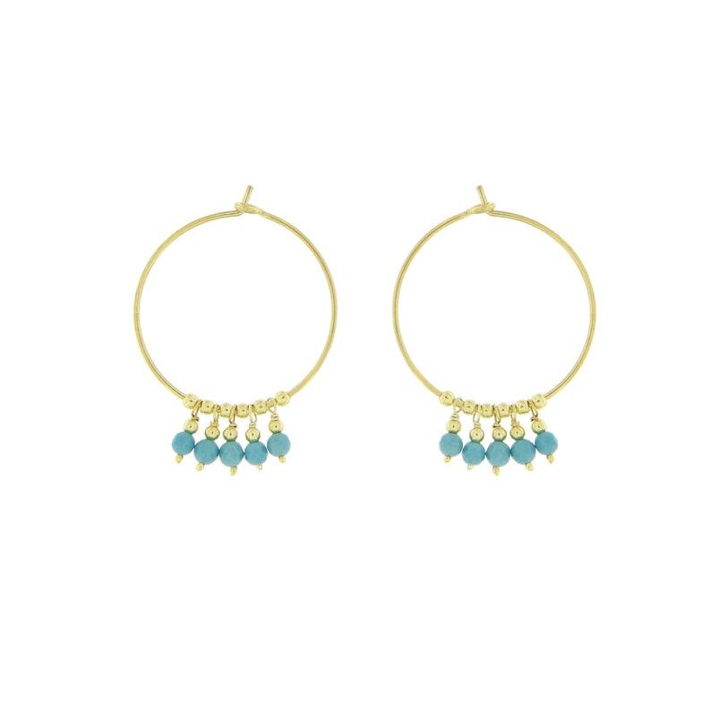 Modern Statement Earrings SE0789 Hoop Earrings Gemstones Boho Hoops Rose Gold Plated 25mm