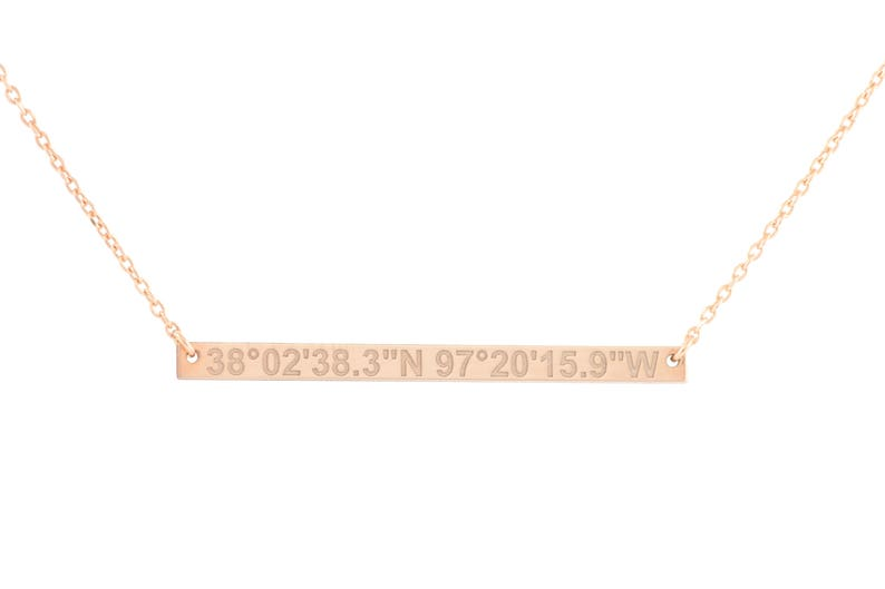 Custom Bar Necklace Personalized Skinny Coordinates Engraved Gift for Her SN0022