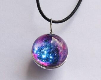 Galaxy necklace nebula glass ball pendant