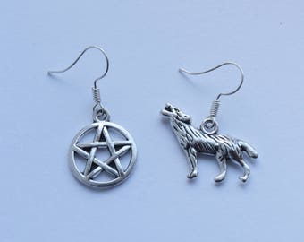Wolf and pentagram earrings