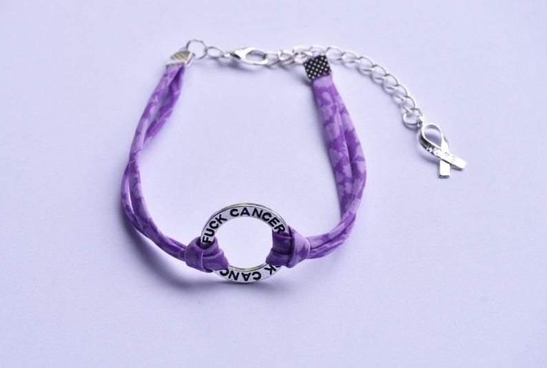 Fuck cancer liberty ribbon bracelet