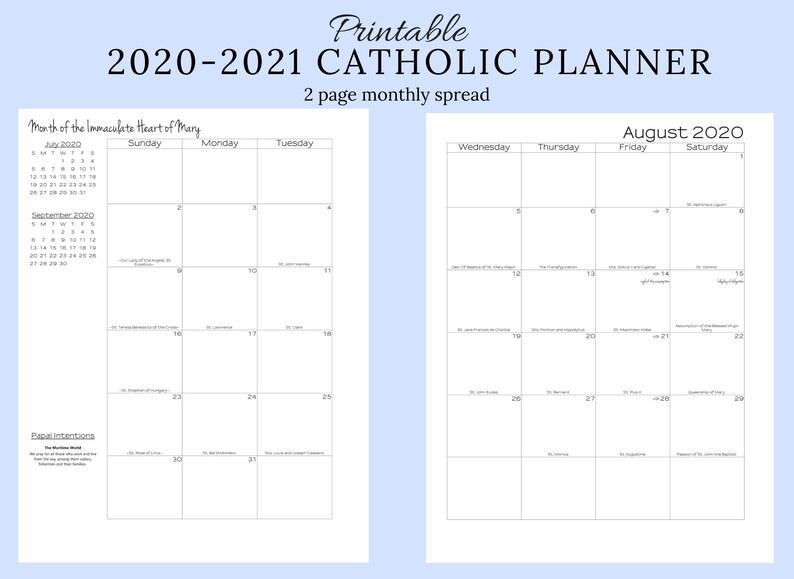 2020-2021 Catholic Monthly Planner Printable: Catholic | Etsy