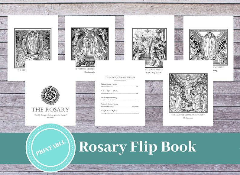 photo about Printable Flip Book titled Printable Rosary Artwork Flipbook: Catholic Prayer Guidance / Printable Catholic Determination / Catholic Family members / Rosary Print / Catholic Coloring Webpage