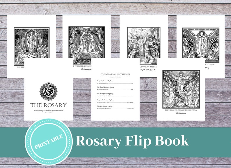 graphic about Printable Flip Book referred to as Printable Rosary Artwork Flipbook: Catholic Prayer Assistance / Printable Catholic Dedication / Catholic Household / Rosary Print / Catholic Coloring Web site