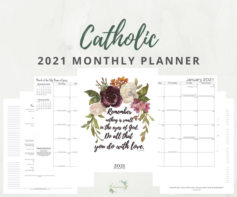 2021 Monthly Catholic Planner Printable: Daily Planner ...