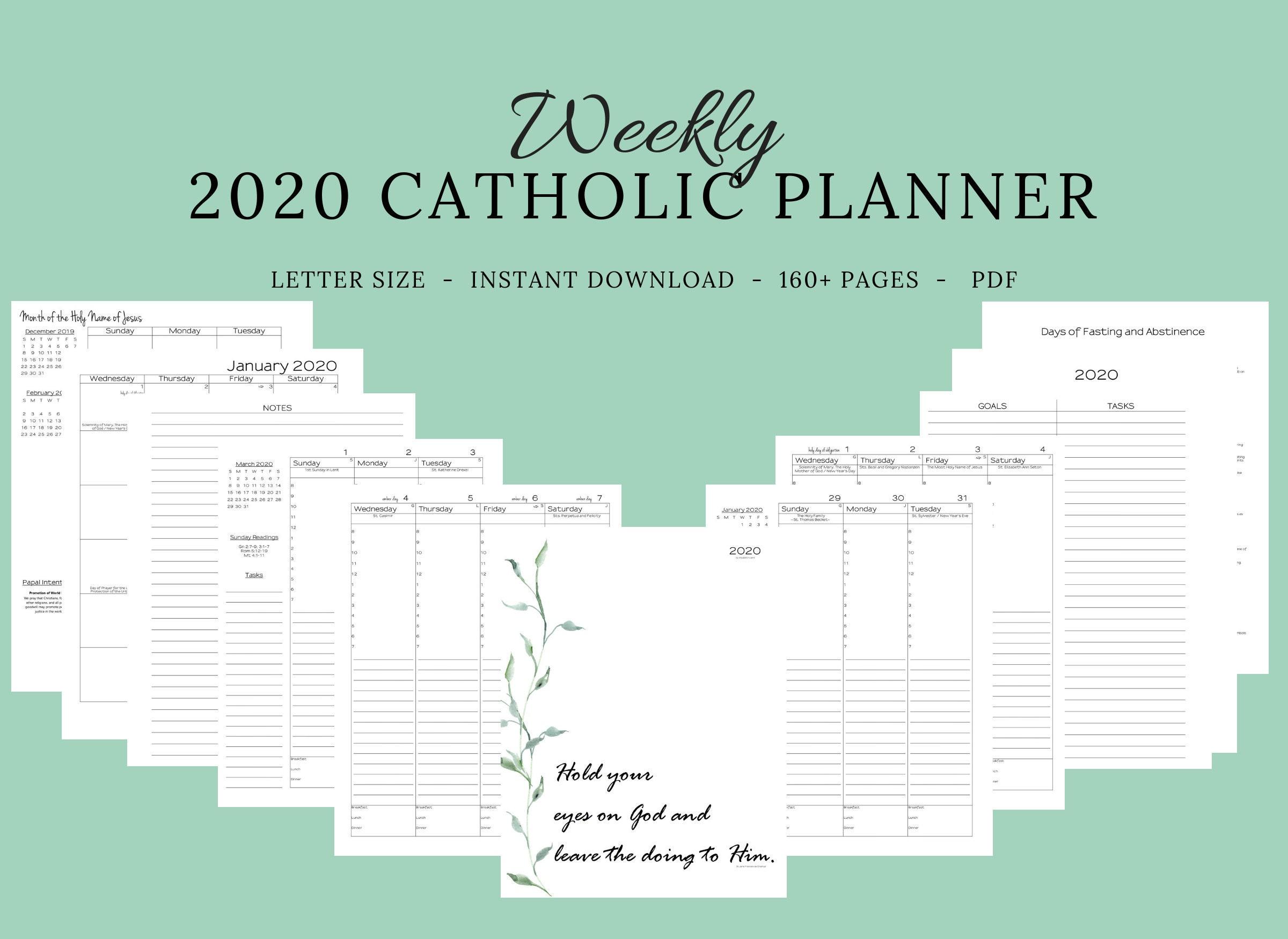 December 31 2020 Liturgical Calendar 2020 Catholic Planner Weekly Printable: Daily Planner /   Etsy