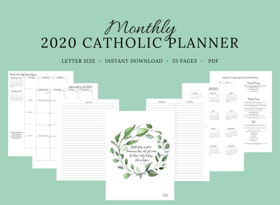 picture relating to Liturgical Year Calendar Printable identify 2020 Catholic Planner Month-to-month Printable: Every month Planner / Catholic Liturgical Yr Calendar / Printable Catholic Planner / Catholic lady