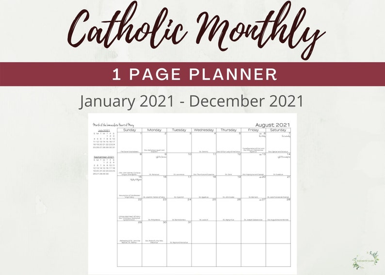 2021 TLM Catholic One Page Monthly Planner Printable: | Etsy