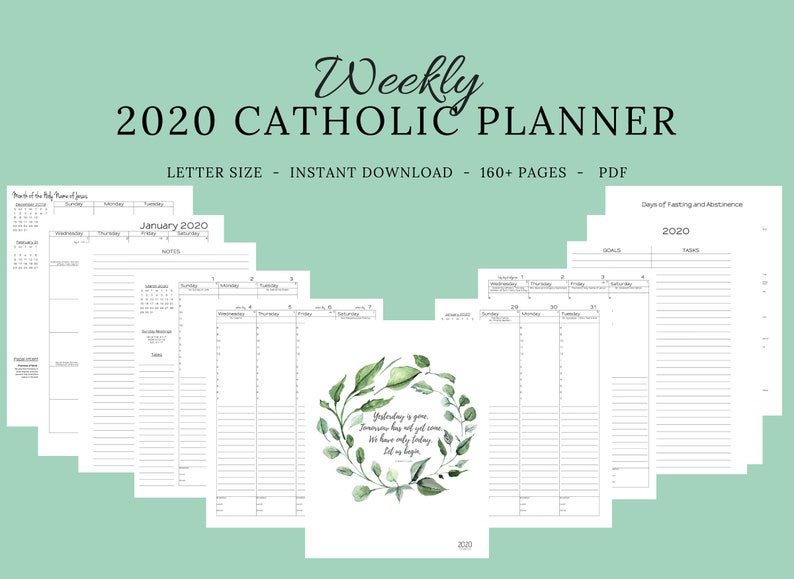 picture relating to Liturgical Year Calendar Printable called 2020 Catholic Planner Weekly Printable: Day by day Planner / Weekly Calendar / Catholic Liturgical Yr Calendar / Printable Catholic Planner