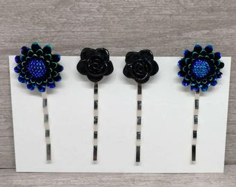 Black flower hair clips, Rose hair pins, Bobby pins, Girls hair pins, bobby pins, Gift for girls, Hair pin set, Set of 4, Girls hair clips