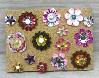Flower pushpins, flower thumbtacks, floral thumbtacks, pretty thumbtack set, cute thumbtacks, 15 ct lot F