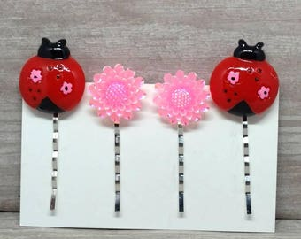 Ladybug hair clips, Flower hair pins, Bobby pins, Girls hair pins, bobby pins, Gift for girls, Hair pin set, Set of 4, Lady bug clips