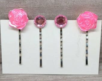 Pink rose hair clip, Rose hair pins, Bobby pins, Girls hair pins, Pink bobby pins, Gift for girls, Hair pin set, Set of 4, Girls hair clips