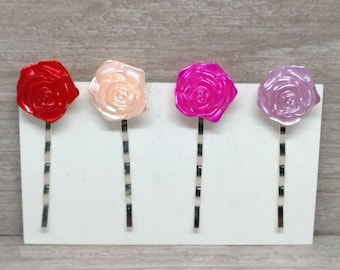 Pink/Purple rose hair clip, Rose hair pins, Bobby pins, Girls hair pins, bobby pins, Gift for girls, Hair pin set, Set of 4, Girls hair clip
