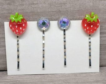Strawberry hair clips, Crystal hair pins, Bobby pins, Girls hair pins, bobby pins, Gift for girls, Hair pin set, Set of 4, Girls hair clips
