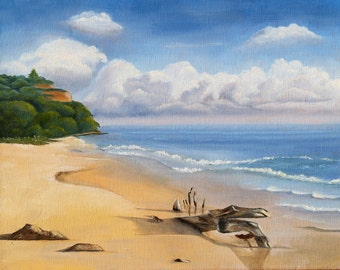 Painting of beach scene in the Caribbean