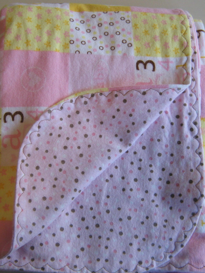 And White Baby Blanket Yellow Reversible Flannel Blanket Pink Baby Blanket