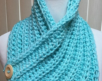 Neck Warmer, Turquoise, Blue, Crochet Scarf, Buttons, Cowl, Fall, Winter, Handmade, Gift for Him, Gift for Her, Christmas Gift