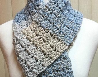 Blue and Beige Crochet Scarf Open End Bulky Long, 100% Acrylic Handmade Crochet Knit Winter, Men's Women's Ladies Gifts for Him Her