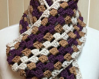 Purple and Gold Crochet Scarf with Fringe Open End Long, 100% Acrylic Handmade Winter, Men's Women's Ladies Gifts for Her Gifts