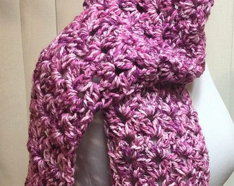 Chunky Pink and Purple Crochet Scarf Open End Wide Long, 100% Acrylic Handmade Winter, Girlfriend Gift Women's Ladies Gifts for Her Fashion