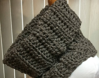 Cowl, Brown, Turtleneck, Crochet Scarf, Chunky, Neck Warmer, OOAK, Handmade, Winter, Gift for Him, Gift for Her