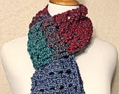 Crochet Scarf, Blue, Red, Fuzzy Scarf, Handmade Scarf, Winter Scarf, Neck Warmer Scarf, Gift for Her, Gift for Women, Girlfriend Gift