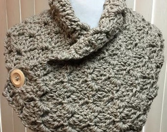 Neck Warmer, Beige, Taupe, Crochet Scarf, Button, Cowl, Fall, Winter, Handmade, Gift for Him, Gift for Her, Christmas Gift
